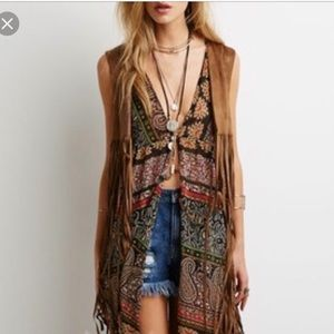 New Tan Brown Faux Leather Fringe Vest Top S